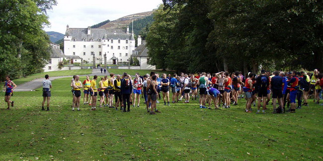 Runners gather in the magnificent grounds of Traquair House