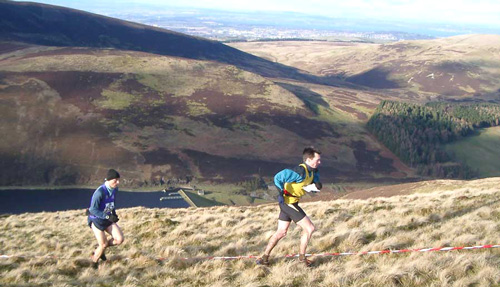 Philip Addyman in close pursuit at the Carnethy 5 Hill Race