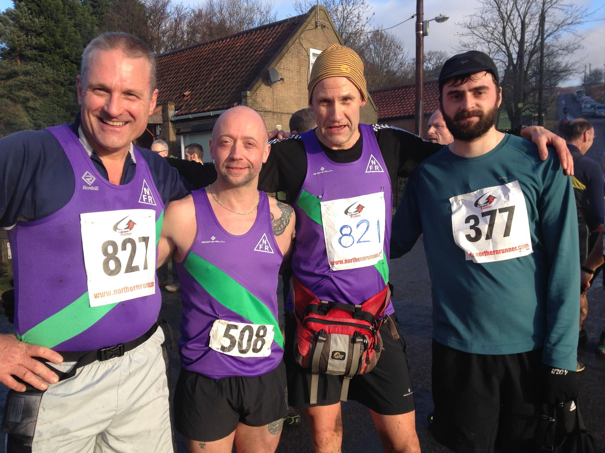 NFR members Paul Hainsworth, Tony Holland, and Mark Latham at Sunday's Commondale Clart race, along with unattached runner Edmund English - photo: Mark Latham